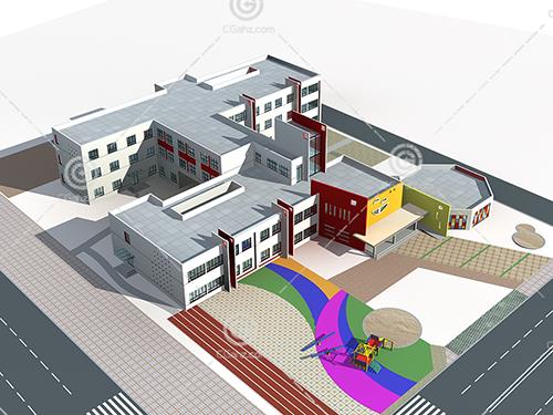 新中式的学校3D模型下载