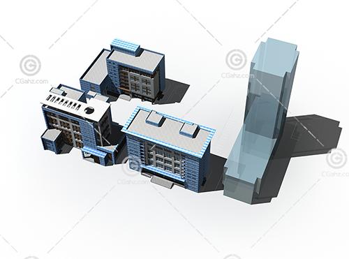 簡單的建筑組合學校3D模型下載