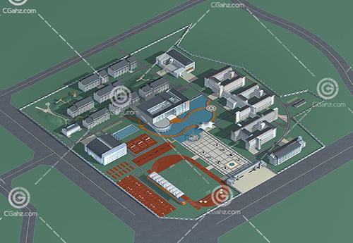 新中式学校3D模型下载