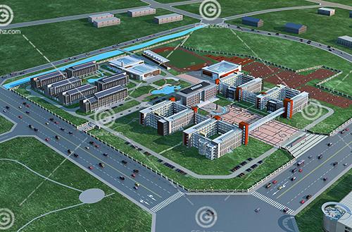 组合学校3D模型下载