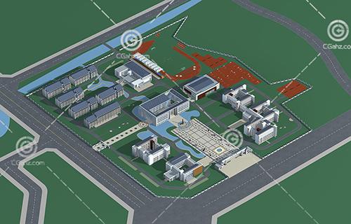 新中式学校模型下载