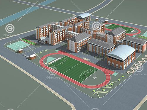 帶有兩個操場的學校3D模型下載
