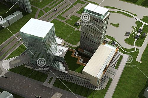 现代高层酒店式公寓3D模型下载