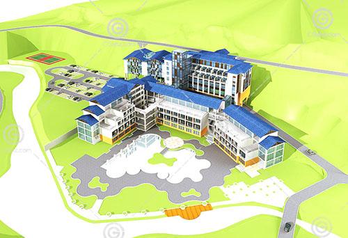 现代简单的酒店式公寓3D模型下载
