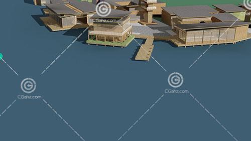湖边的度假酒店3D模型下载