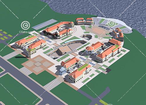 欧式度假酒店3D模型下载