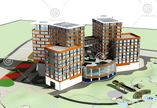 结构简单的酒店3D模型下载