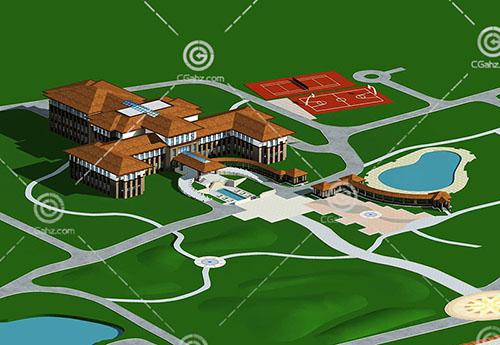 带有球场和泳池的酒店3D模型下载