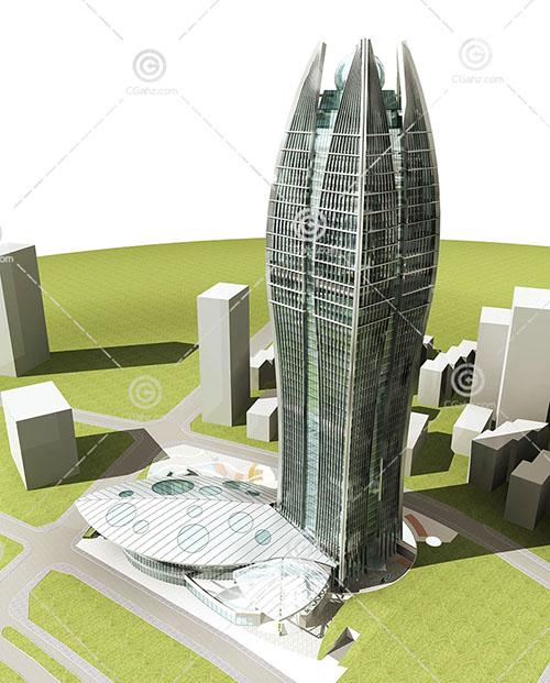 解构主义的大酒店3D模型下载