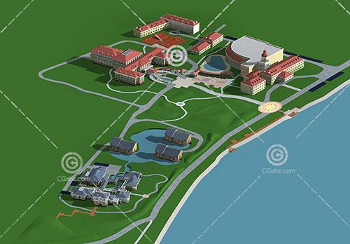 组合度假酒店3D模型下载