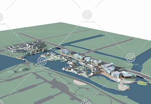 新中式的旅游度假区3D模型下载
