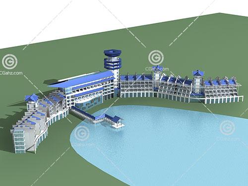 度假酒店3D模型下载