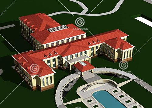 简单的欧式酒店式公寓3D模型下载