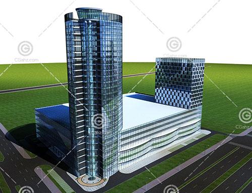 现代简洁的大酒店3D模型下载