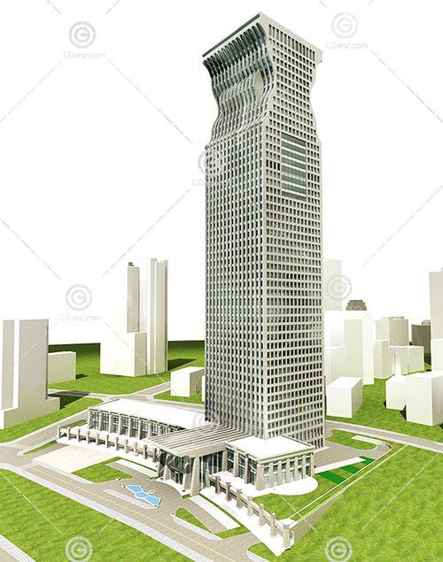 现代高层大酒店3D模型下载