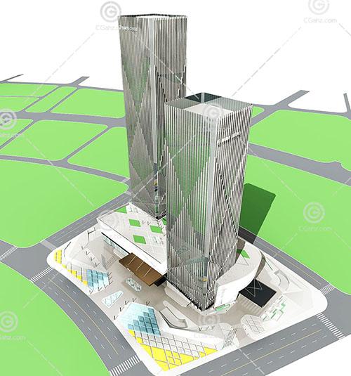 现代两栋组合的大酒店3D模型下载