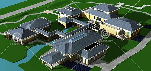 新中式的酒店模型下载