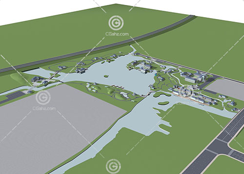 新中式度假酒店3D模型下载