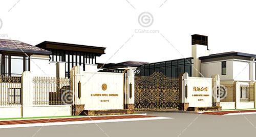 新中式的酒店3D模型下载