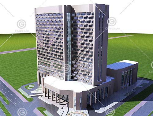 简单的现代大酒店3D模型下载