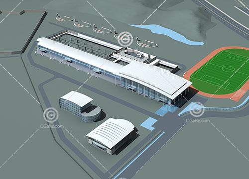 带有操场的度假酒店3D模型下载
