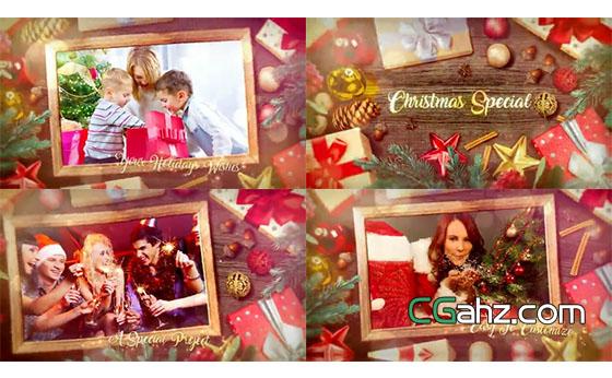 溫情圣誕節主題圖文內容展示AE模板`