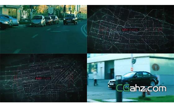 以城市交通地图为背景创建的悬疑类电影预告片AE模板