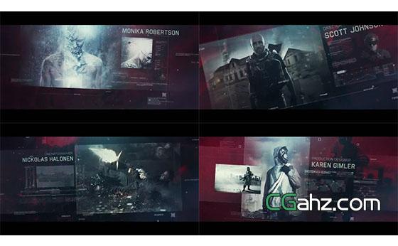暗黑风数字科幻电影内容展示效果AE模板