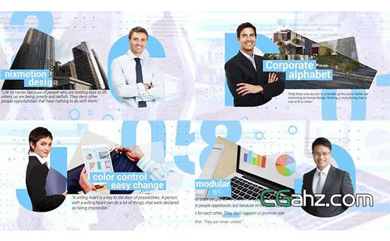 字母上的抠像人物与企业商务内容展示AE模板
