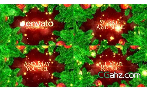绿色圣诞树叶丛中美好的节日祝福AE模板