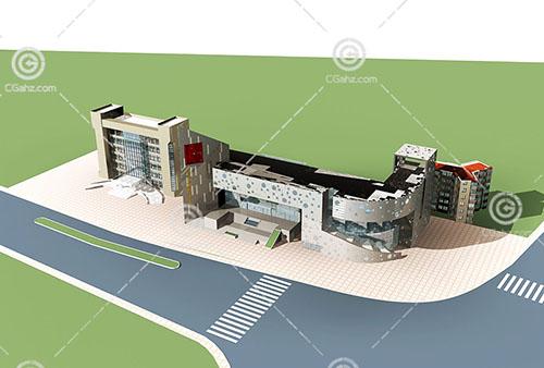 现代商业组合体3D模型下载