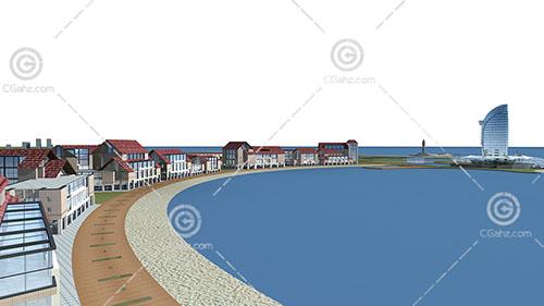 湖边的度假酒店模型下载