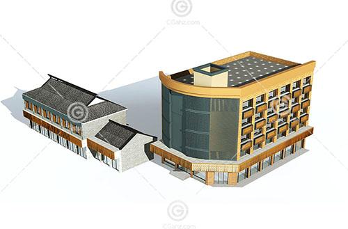 新中式的多层住宅3D模型下载