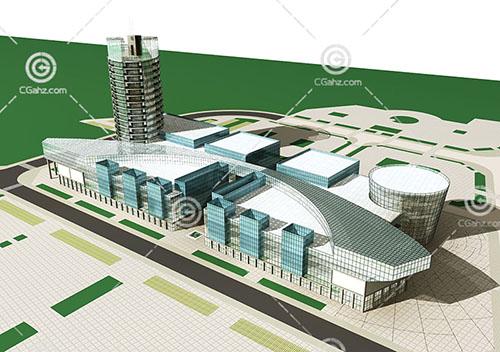 现代的大型商业综合体3D模型下载
