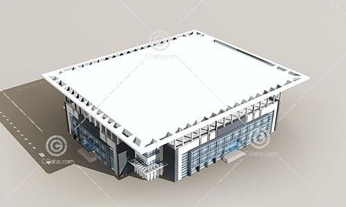 方形的商业综合体3D模型下载