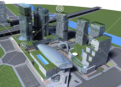 现代办公区3D模型下载