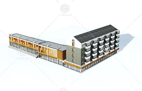 新中式街边高层住宅3D模型下载