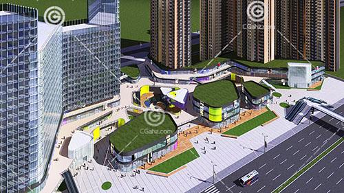 现代路面的高层住宅小区3D下载
