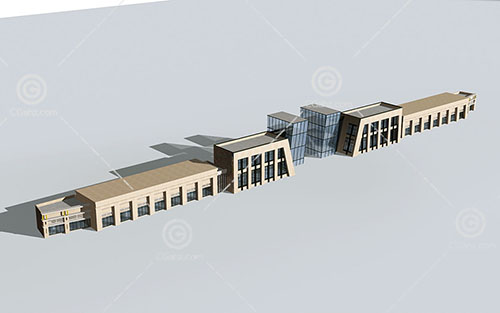 简单的商业街3D模型下载