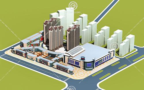 现代大型商业综合体3D模型下载