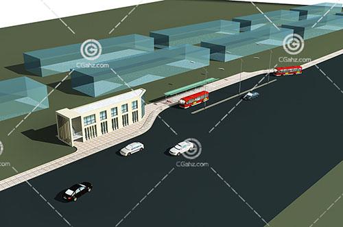 公交停靠中心3D模型下载