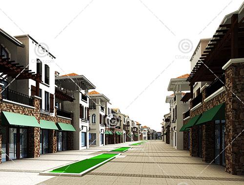欧式商业街3D模型下载