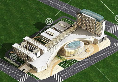现代简洁的商业综合体3D模型下载