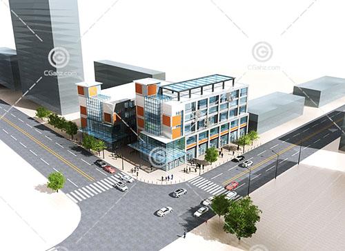现代商业街3D模型下载