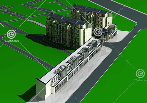 新中式的商业街3D模型下载