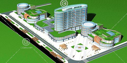沿街商业综合体3D模型下载