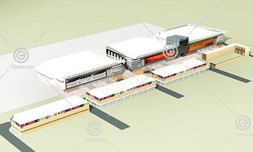 街边的商业综合体3D模型下载