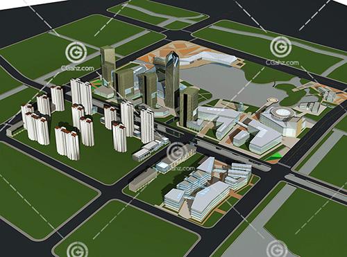 大型商业综合体高层建筑3D模型下载