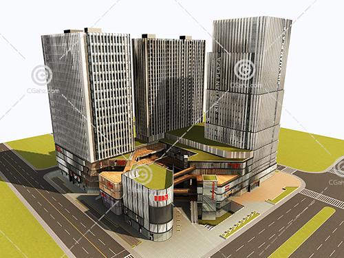 现代大型的商业综合体模型下载