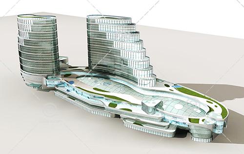 解构主义商业综合体3D模型下载